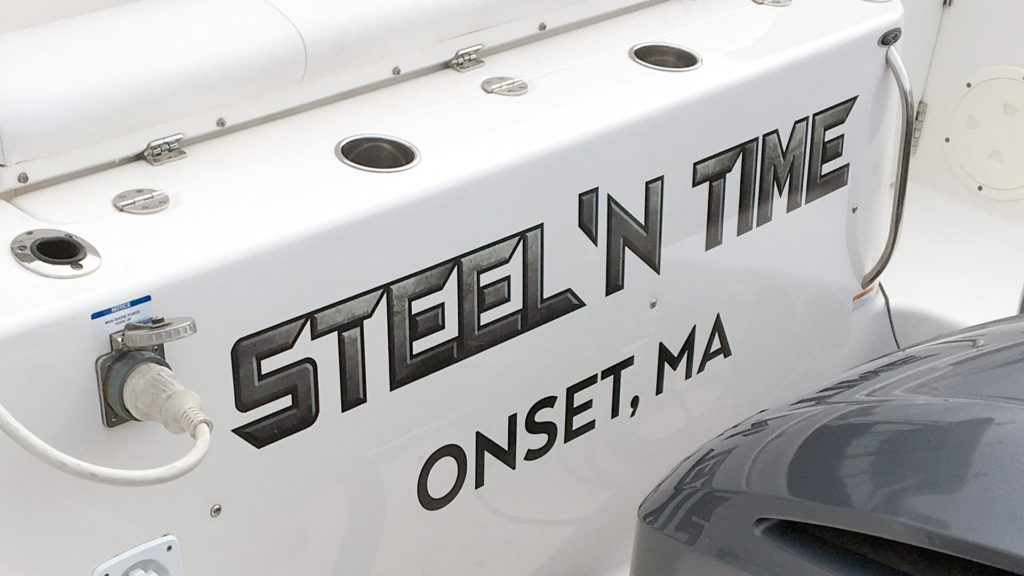 Steel 'N Time Boat Lettering Decal, print and mount, transom lettering