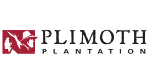Plimoth Plantation black lettering, pilgrim red logo on left side of words, Plymouth, Massachusetts